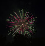 Pink-Green Light Fireworks Royalty Free Stock Photo