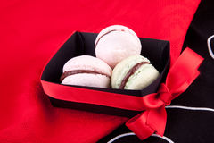 Pink and green macaroons in the box Royalty Free Stock Photography