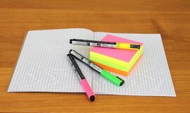 Pink and Green Marker Place on Grafting Paper Royalty Free Stock Image