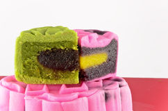 Pink and green moon cake Stock Photo