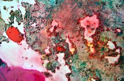 Pink green orange purple dark spots, painting watercolor background, painting abstract colors stock images