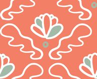 Pink green ornament bloom seamless pattern vector illustration