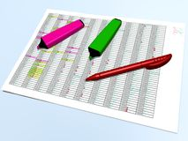 Pink and green pen markers and a red pen on a control grid Royalty Free Stock Photography