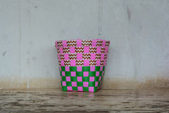 A pink and green plastic basketry Royalty Free Stock Photos
