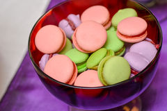 Pink, green and purple macarons Royalty Free Stock Images