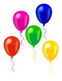 Pink, green, red, blue and yellow balloons Stock Photo