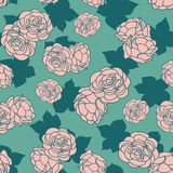 Pink green rose garden with shadow seamless vector repeat pattern stock illustration