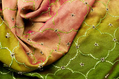 Pink and green satin textile Royalty Free Stock Photos