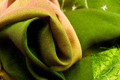 Pink and green satin textile Stock Photo