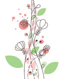 Pink and green vertical floral picture Royalty Free Stock Images