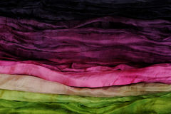 Pink Green and Violet Silk as Abstract Background Stock Photos