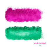 Pink and green watercolor banner Royalty Free Stock Photo