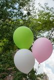 Pink, green and white balloons. Indicating happiness and celebration Royalty Free Stock Photos
