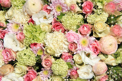 Pink, green and white bridal arrangement Royalty Free Stock Images