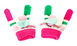 Pink and green wool mittens. Royalty Free Stock Photos