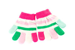 Pink and green wool mittens. Royalty Free Stock Image