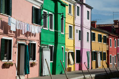 Pink Green and Yellow in Burano Royalty Free Stock Images