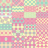 Pink, green and yellow patchwork seamless vector pattern royalty free illustration