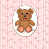 Baby card with toy bear Royalty Free Stock Images
