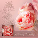 Pink greeting card Royalty Free Stock Image