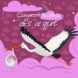 Pink greeting card for the arrival of the girl. A stork carries a cute child in a bag. Vector postcard vector illustration