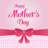 Pink greeting card with bow and Happy mother s day lettering background or brochure template. Vector illustration. Royalty Free Stock Photo