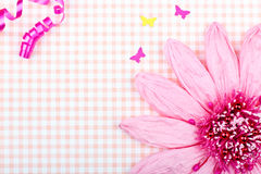 Pink greeting card with flower Royalty Free Stock Photo