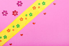 Pink greeting card with hearts and flowers Stock Image