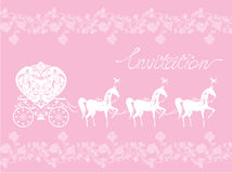Pink Greeting Card with a lace ornament. Floral Ba. Ckground with white horses and carriage. Invitation - hand drawn text Royalty Free Stock Photography