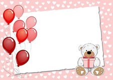 Pink Greeting Card With Teddy Bear Stock Image