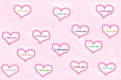 Pink greeting card with white hearts and i love you sign Stock Photography
