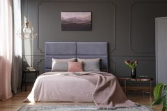 Pink and grey bedroom interior stock photos