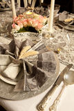 Pink and grey christmas table Stock Photos