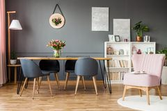 Pink and grey dining room. Pink armchair next to grey chairs at wooden table with tulips in elegant dining room interior royalty free stock image
