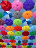 Pink Grey and Green Folding Umbrella Painting Royalty Free Stock Image