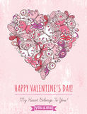 Pink grunge background with valentine heart of but Royalty Free Stock Photos