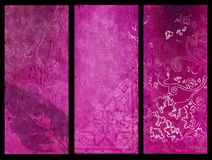 Pink grunge banners. Set of three abstract vertical banners Royalty Free Stock Photos