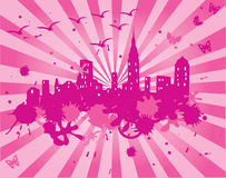 Pink grunge city Royalty Free Stock Image