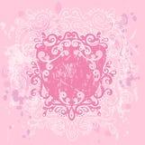 Pink Grunge Crest. Illustration on textured background Stock Photography
