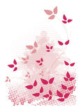 Pink, grunge design. Pink, grunge design with leaves and halftones Royalty Free Stock Image