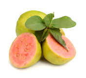 Pink guava slices. Fresh guava  on a white background Stock Photos