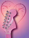 Pink Guitar. Computer illustration of pink guitar headstock, with background design Stock Photography