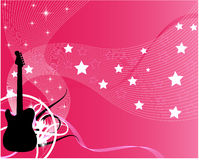 Pink  guitar. A silhouette of a guitar on a pink background filled with stars and stripes Stock Photos
