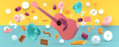 Pink guitar and blue speakers amid balls and tape on a green and yellow backdrop. 3d rendering vector illustration