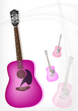 A Pink Guitar on Modern Elegance Background Royalty Free Stock Image