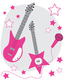 Pink Guitars Stock Image