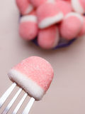 Pink gummy sweets with sugar, top view Stock Images