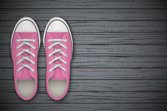 Pink gumshoes Shoes on wooden background. Pink gumshoes on wooden background. Sport shoes Top view. Vector Illustration royalty free illustration