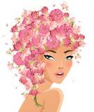 Pink hair beauty vector illustration