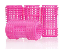 Pink hair curlers Stock Photo